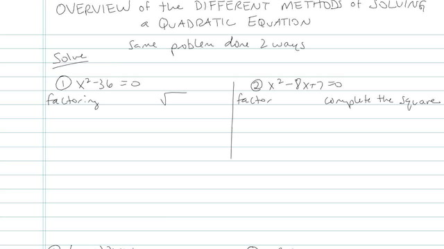 Overview of the Different Methods of Solving a Quadratic Equation - Problem 5