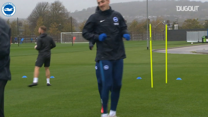 Brighton gear up in training ahead of Tottenham
