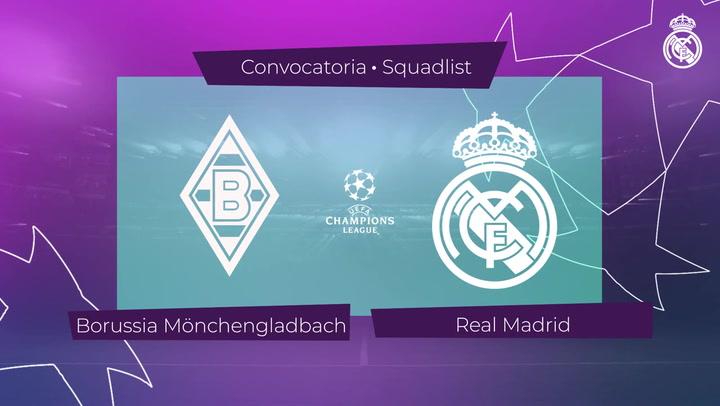 Los 21 convocados del Real Madrid para el encuentro ante el Borussia Mönchengladbach