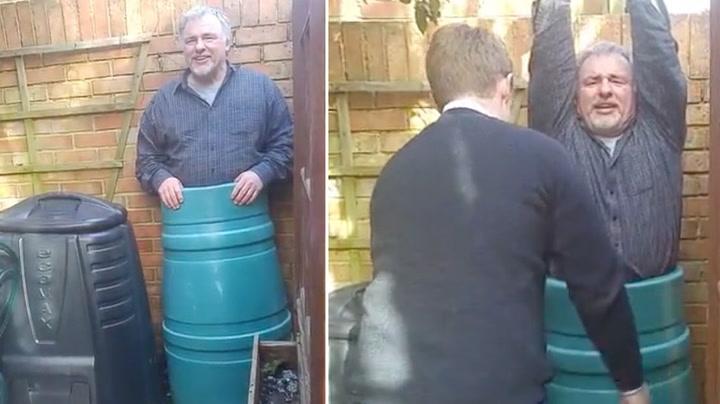 Fred ble sittende bom fast i kompostdunken