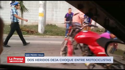 Dos heridos deja choque entre motociclistas
