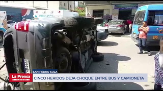 Cinco heridos deja choque entre bus y camioneta en San Pedro Sula