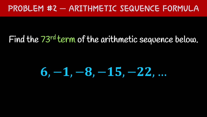 Arithmetic Sequence Formula Problem #2 Video