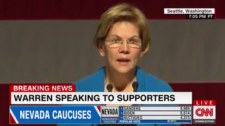 Elizabeth Warren Trashes Michael Bloomberg in Post-Nevada Speech in Seattle