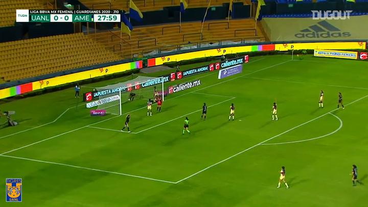 El gol de Belén Cruz que le dio la victoria a Tigres ante el América