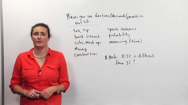 Applications of Fractions, Decimals, Percents