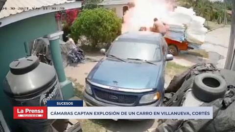 Cámaras captan explosión de un carro en Villanueva, Cortés