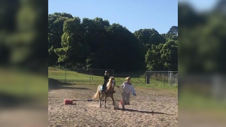 ¡Corre, Elsa, corre! Chris Hemsworth demuestra que su mujer es más rápida que un caballo