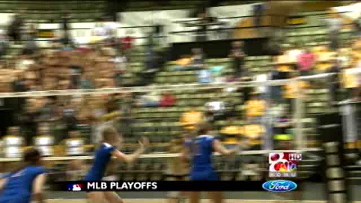Volleyball Tops KU in Thriller, 3-1