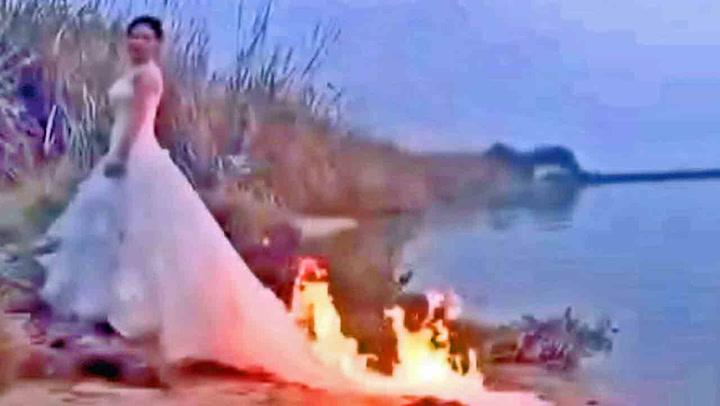 Her setter hun fyr på brudekjolen - frivillig