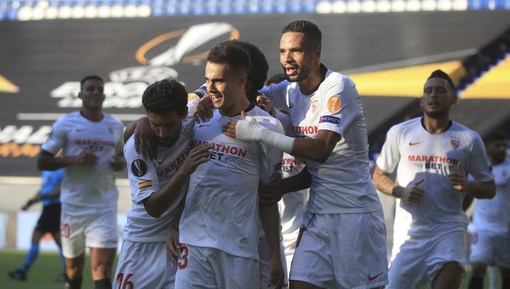 Europa League Sevilla-Roma. Gol de Reguilón (1-0)
