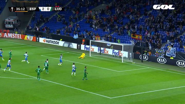 Europa League Espanyol-Ludogorets. Gol del Mono Vargas de penalti (3-0)