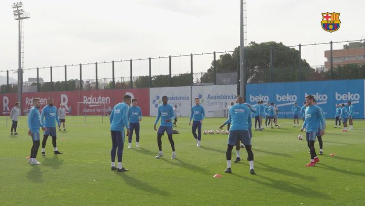 Última sesión de entrenamiento del Barça antes del partido contra la Real Sociedad