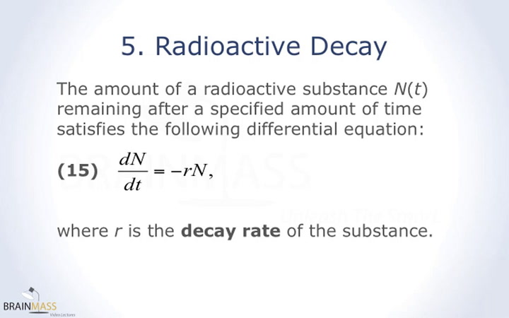 Radiocarbon dating differential equation