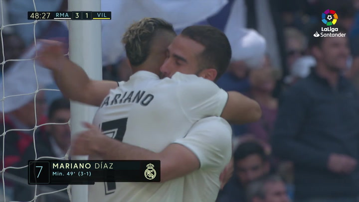 LaLiga: Real Madrid - Villarreal. Gol de Mariano Díaz en el minuto 49 (3-1)