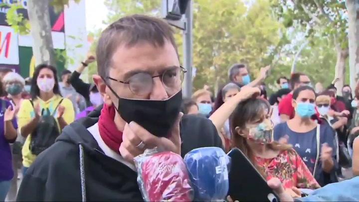 Monedero en la manifestación para protestar contra las medidas 'apartheid' de Ayuso