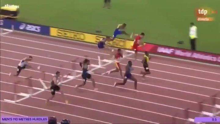Orlando Ortega participa en la final de los 110 metros vallas del Mundial de Atletismo