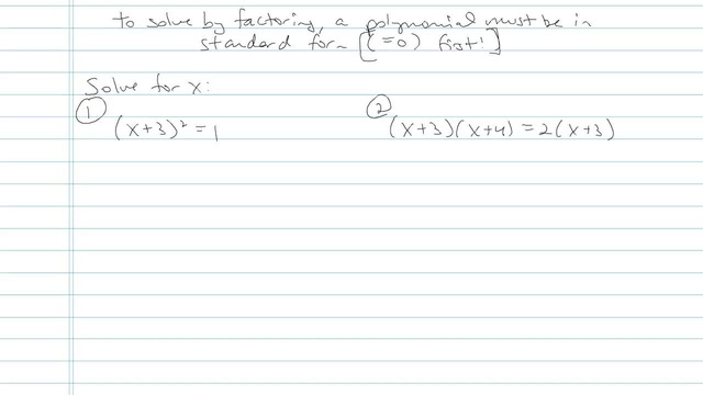 Solving Quadratic Equations by Factoring - Problem 11