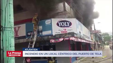 Incendio en un local céntrico del puerto de Tela, Atlántida