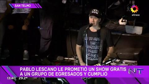 Pablo Lescano cumplió su promesa y Damas Gratis tocó gratis en una fiesta de egresados