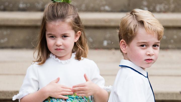 Charlotte y George de Cambridge, los pajes mas risueños de la boda de Eugenia de York