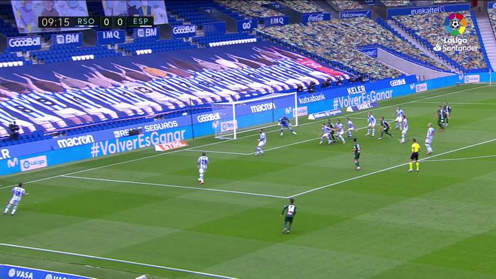 Gol de David López (0-1) en el Real Sociedad 2-1 Espanyol