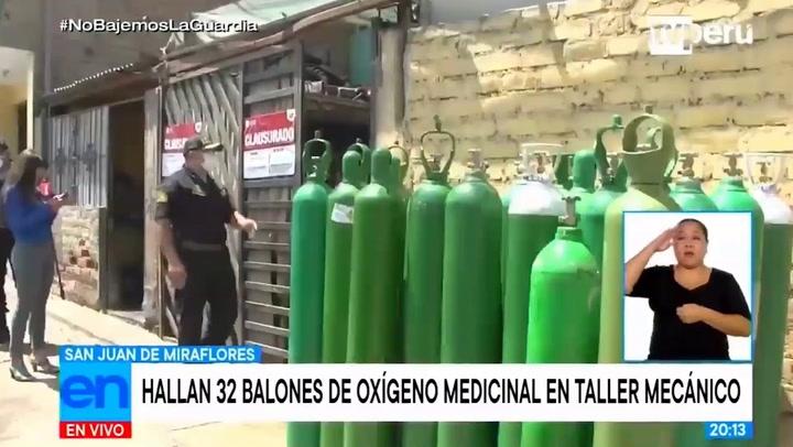 Policía decomisa 32 balones de oxígeno medicinal en taller en SJM | VIDEO