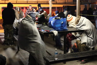 Homeless in Las Vegas struggle to deal with bitter cold.
