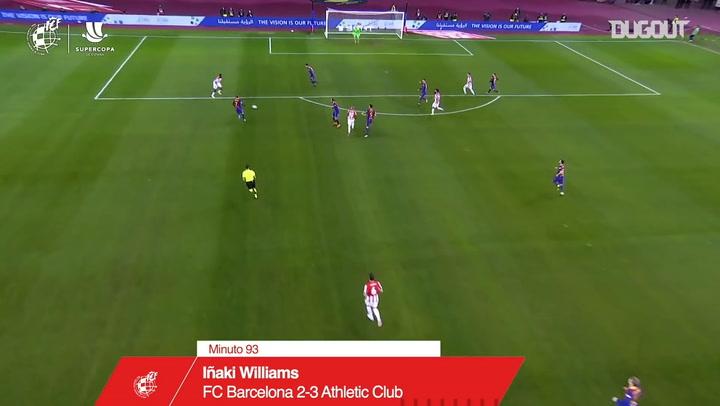 El decisivo golazo de Iñaki Williams ante el Barcelona en la final de la Supercopa