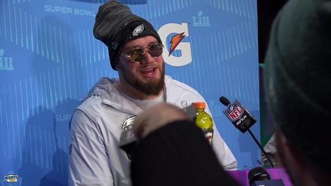 Lane Johnson on being in Super Bowl, Nick Foles & calling Brady pretty