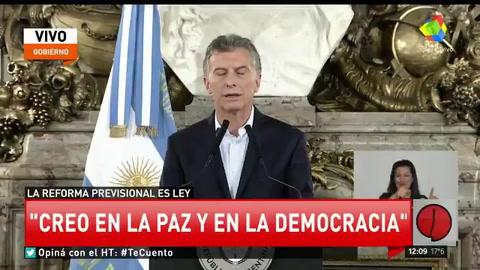 Macri condenó los hechos de violencia y resaltó que la gobernabilidad no está más en discusión