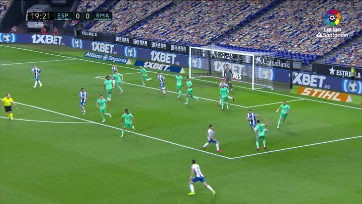 Gol  RCD Espanyol - Real Madrid J32 PARADA COURTOIS MIN19