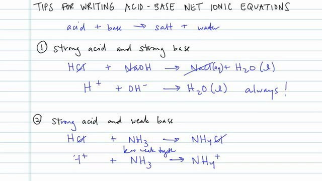 Tips for Acid-Base Net Ionic Equations - Concept