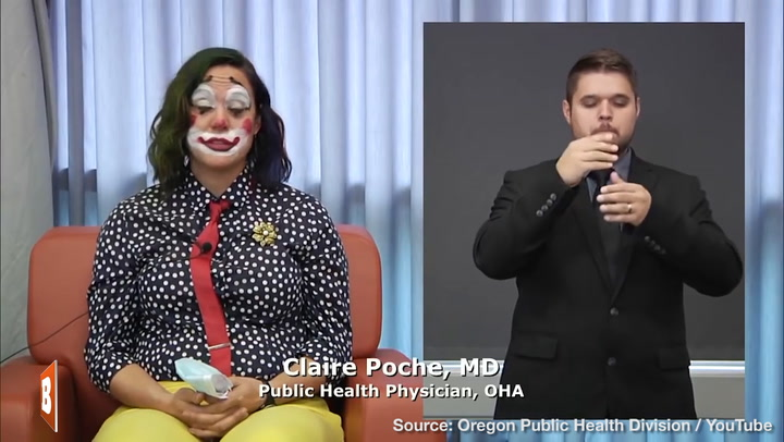 Oregon Public Health Official Dresses as Clown to Read Off State's COVID-19 Death Toll