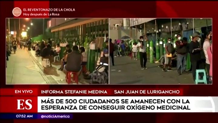 SJL: ciudadanos duermen en la calle para poder conseguir oxígeno