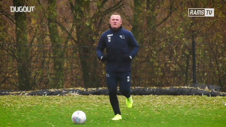 Wayne Rooney's first training session with Derby County squad