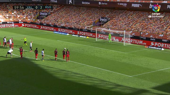 Gol de Wass (p.) (1-2) en el Valencia 2-2 Real Sociedad