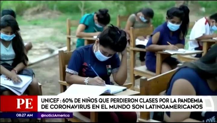 Unicef informó que el 60% de niños que perdieron clases por pandemia son Latinoamericanos