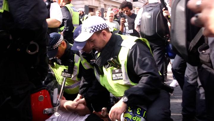 Police form cordon around anti-vaccine protesters in London
