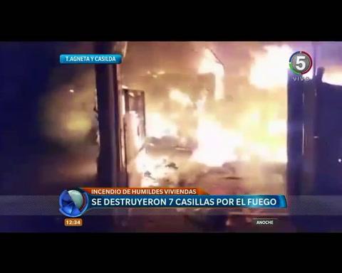 Un incendio causó pérdidas totales en siete casillas en Teniente Agneta y Casilda