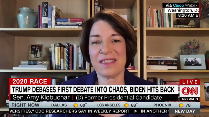 Klobuchar on Debate: Trump Was 'Bullying' Biden 'Like a Heckler at a Ball Game'