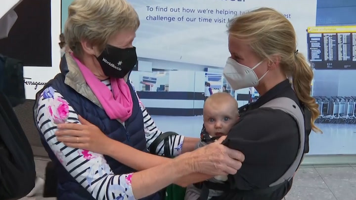 Hugs at Heathrow as fully vaccinated EU and US passengers arrive in UK