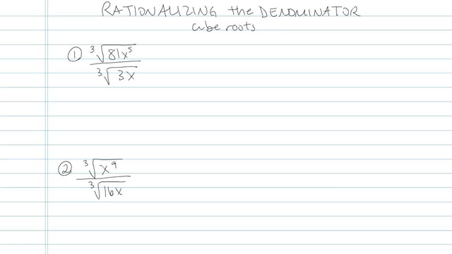 Rationalizing the Denominator with Higher Roots - Problem 3
