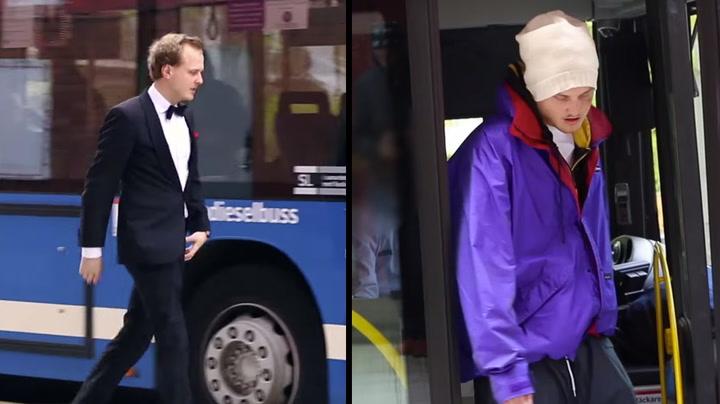 Se hva som skjedde på bussen da Olle byttet klær