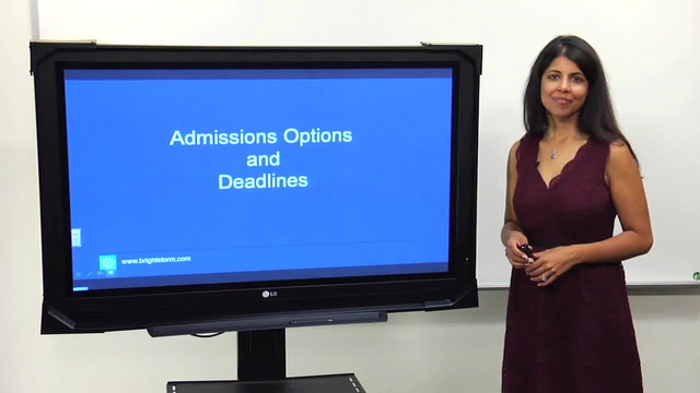 Admissions Options and Deadlines