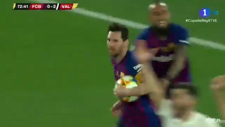Copa del Rey: Barça-Valencia. Gol de Messi (1-2)