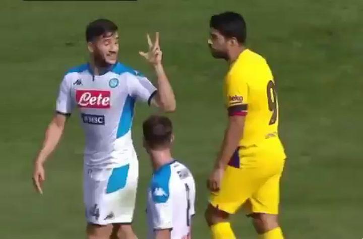 Manolas le recordó a Luis Suárez el 3-0 en Roma