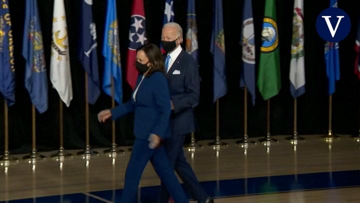 Primera aparición pública de Biden y Harris
