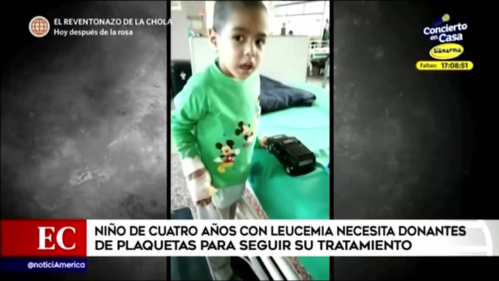 Niño de cuatro años con leucemia necesita donantes de plaquetas para seguir con su tratamiento