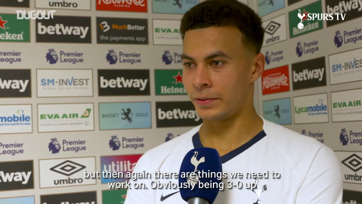 Dele Alli reacts to West Ham win
